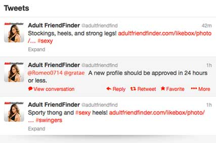 The Adult FriendFinder Twitter page features tweets about adult dating topics