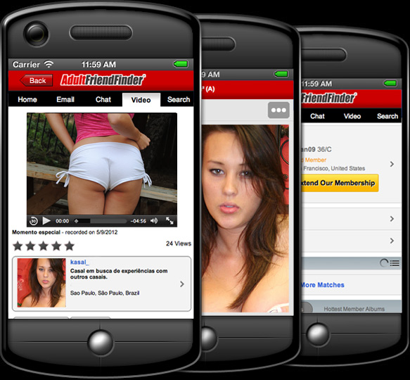 Website Pages Showing Adult Friend Finder Mobile, Chat, Cams, Videos and Pictures